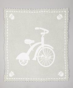 Seaglass & White Bicycle Stroller Blanket