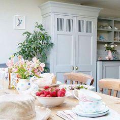 Pale grey kitchen diner with larder cupboard Grey Kitchen Diner, Grey Kitchens, Rustic Kitchen, Country Kitchen, Kitchen Decor, Kitchen Ideas, Kitchen Design, Country Cupboard, Larder Cupboard