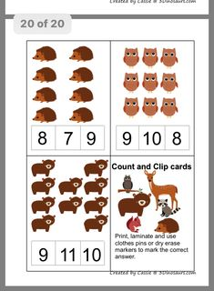 Forest animals math activities for preschoolers Animal Activities, Autumn Activities, Learning Activities, Teaching Habitats, Bible Coloring Pages, Printable Numbers, Maila, Animal Crafts For Kids, Math For Kids