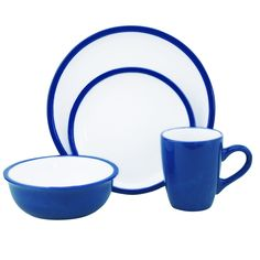 Lorren Home Trends Two-tone Blue/ White 16-piece Stoneware Set | Overstock™ Shopping - Great Deals on Lorren Home Trend Casual Dinnerware