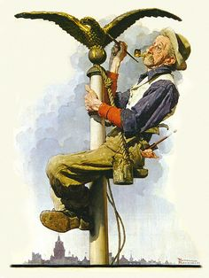 1928- Man Painting Flagpole- by Norman-Rockwell