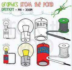 Electricity - colour and line art set of 8 individual .png files