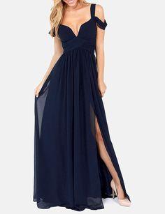 maxi+robe+épaule+dénudé+-bleu+marine++24.83