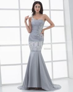 f664158239aea2 (Limited Supply) Click Image Above  Satin One Shouder Ruffles Beading  Mermaid Floor Length Women s Evening Dress