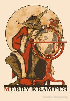 """""""Merry Krampus"""" Greeting Cards & Postcards by Creative Outpouring 