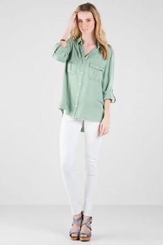 Harper Buttoned Pocket Blouse in Olive francesca's