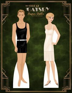 the great gatsby | paper dolls by cory* For lots of free paper dolls International Paper Doll Society #ArielleGabriel #ArtrA thanks to Pinterest paper doll collectors for sharing *