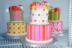 Stacked buttercream cakes that serve 10. $95  Available in White, Chocolate, and Red Velvet
