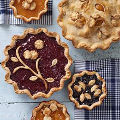 Oh, so pretty pies! apple pie, blueberry pie, cherry pie. Homemade pies, fruit pies.