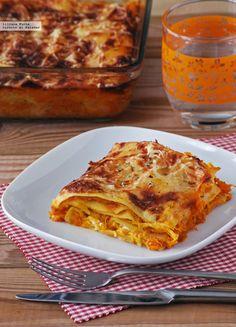 Lasaña de calabaza asada y queso de cabra. Receta vegetariana http://ift.tt/OAtrnL