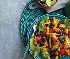 Roasted Sweet Potato & Black Bean Salad - just one of 5 healthy and hearty bean recipes - Legumes deliver megaperks: They help you slim, may lower blood pressure and reduce heart disease risk. (Self Magazine)