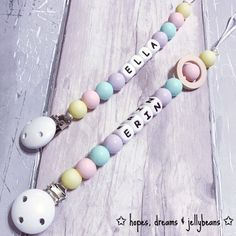 Silicone dummy clip / Toy clip 'Erin' Pastels / Personalised / Fiddle beads / Chewelry / Teething / Baby shower gift / Teether by HopeDreamsJellybeans on Etsy https://www.etsy.com/uk/listing/516633569/silicone-dummy-clip-toy-clip-erin