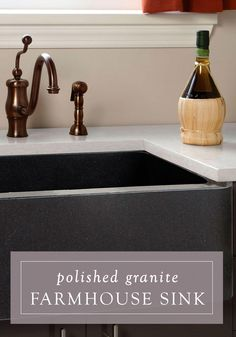 This sleek Polished Granite Farmhouse Sink is a great starting point when planning for your new kitchen style. It is versatile and has a contemporary feel.