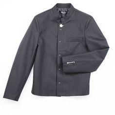 マオカラー ショート丈 フライフロント 薄手スリムジャケット