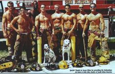 sexy fire men with truck