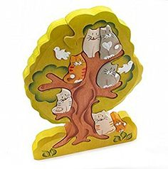 3D Wooden Jigsaw Puzzle - Cats on a Tree - Stacking Handcarved and Hand-painted Toy