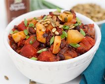 Black Bean Chili with Acorn Squash and Toasted Pepitas