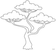 Dessin à imprimer, un arbre de la savane africaine Easy Animal Drawings, Easy Drawings, Tree Design On Wall, Lion King Pictures, African Tree, Family Tree Poster, Jungle Tree, Safari Decorations, African Crafts