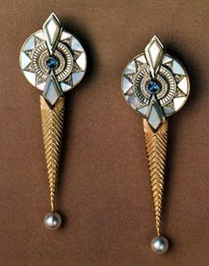 Le Soleil Diamond, Topaz, Mother-of-Pearl, Pearl, Sterling Silver, and Gold Earrings by Erté