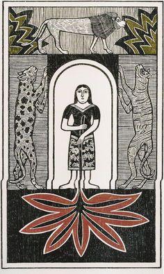 Samico, Luzia entre feras (1968), xilogravura