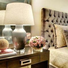 Gray Velvet Headboard, Transitional, bedroom, Dodson and Daughter Interior Design