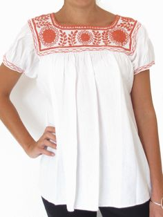 Mexican peasant blouse handmade by artisans in Mexico
