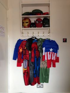 Dressing up storage in my boys room. & A fun way to display dress-up costumes - great idea for a school ...