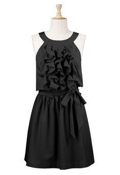 black ruffle dress >> So cute!