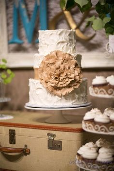 Vintage Buttercream wedding cake with sugar burlap flower by Intricate Icings Cake Design, Photo by Shelley Coar Photography