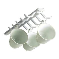 Spectrum Diversified 34100 White Sliding Cup Rack (Pack of Optimize precious cupboard space with the Sliding Cup Rack. The durable plastic organizer can hold up to ten mugs or tea cups. Mounts under a shelf or cabinet and slides out for easy access. Mug Holder, Mug Rack, Coffee Cup Rack, Coffee Cups, Tea Cups, Coffee Time, Kitchen Cabinet Organization, Kitchen Storage, Cabinet Organizers