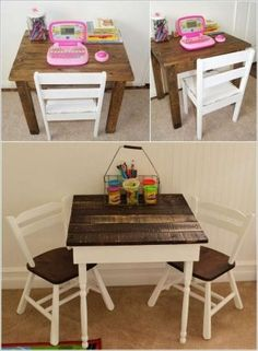 Pallet Activity Table and Chairs for Kids