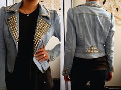 DIY studded denim jacket - going to do this to my trench for fall Diy Jeans, Jeans Refashion, Studded Denim Jacket, Leather Jacket, Diy Recycling, Estilo Jeans, Trendy Jeans, Diy Kleidung, Diy Mode