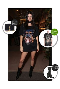 Kendall Jenner Del Toro Chandler Parsons event at Saks Fifth Avenue - seen in Givenchy and carrying Saint Laurent. #saintlaurent #givenchy #graphictees  #kendalljenner @dejamoda