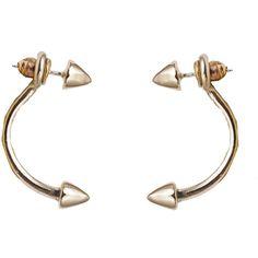 Bernard Delettrez Bronze Double Stud Earrings ($298) ❤ liked on Polyvore featuring jewelry, earrings, gold, stud earrings, gold tone jewelry, gold tone earrings, carved jewelry and bronze jewelry