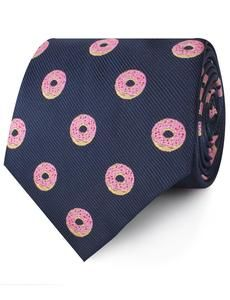 Navy blue men's neck tie with pink frosted donuts. 100% microfiber tie.  One thing Homer Simpson taught H-Bomb's parents is that life is better with doughnuts. H-Bomb would like to teach his gentleman that life is better with bow ties… you can never have enough. We hope you find this decadent take on a bow tie as alluring as the H-bomb does, and add it to your ensembles before Homer Simpson gets a hold of them.  #necktie #donuts #microfiber #menstie Homer Simpson Beer, Midnight Blue Color, Modern Wedding Inspiration, Wedding Ideas, Novelty Ties, Pink Highlights, Cool Ties, Blue Fabric