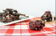 This dark chocolate pomegranate bark and clusters with sliced almonds is perfect for a homemade holiday gift or treat.