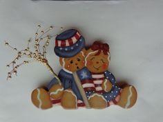 Gingerbread Boy & Girl 4th of July Sparkler~ Shelf Sitter~Americana~Patriotic