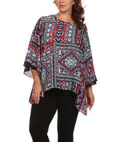 This BellaBerry USA Red & Blue Geometric Sidetail Top - Plus by BellaBerry USA is perfect! #zulilyfinds