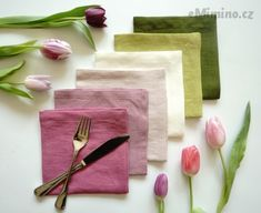 Lněný ubrousek - tulipány / Zboží prodejce Linen Your Life Napkins, Gift Wrapping, Spring, Tableware, Gifts, Detail, Party, Gift Wrapping Paper, Dinnerware