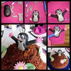 Für den niedlichen Maulwurf brauchen wir schwarzes, weisses und rosa oder rotes… For the cute mole we need black, white and pink or red fondant. Gray is helpful, but you can also knead together from black and white. Mole, La Petite Taupe, Biscuits Roses, Foundant, Canned Frosting, House Cake, New Cake, Fondant Tutorial, Sugar Art