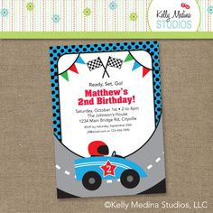 race car birthday invitations - Google Search