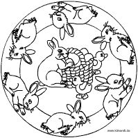 Hoppfelhasen mit Korb Mandala