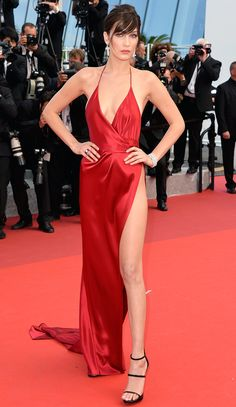 All the Glamour, Glitz and Gowns from the Cannes 2016 Red Carpet | People - Bella Hadid in a sexy thigh-high red Alexandre Vauthier Couture dress (and bangs!)