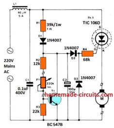 The article presented here explains a very simple closed loop AC motor speed controller circuit that may be used for controlling single phase AC motor speeds. The circuit is very … Electronics Basics, Electronics Projects, Solar Inverter, Electric Circuit, Electronic Schematics, Motor Speed, Electrical Installation, Thing 1, Music System