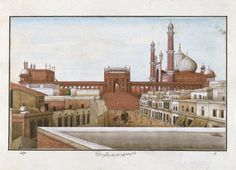 One of four drawings of Mughal architecture. Drawing Delhi, India (made) ca. 1840 (painted)  Artist/Maker: Khan, Mazhar Ali (maker)  unknown (maker) Painted in opaque watercolor on paper- This Company painting shows a view of the Jami Masjid in Delhi. This is India's largest mosque, designed by the architect of Shah Jahan and built between 1644 and 1656.