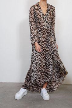 df52123cf4 Ganni Printed Georgette Wrap Dress in Leopard