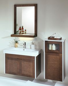 Badezimmer Spiegel Einrichtung Weiß Braun