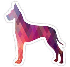 Great Dane Colorful Geometric Pattern Silhouette by TriPodDogDesign
