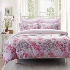 Coral Pink Bedding Set Teen Bedding Dorm Bedding Bedding Collection Gift Idea Pink Bedding Set, Teen Bedding, Modern Bedding, Pillow Shams, Pillows, Flat Sheets, Floral Style, Bedding Collections, Coral Pink