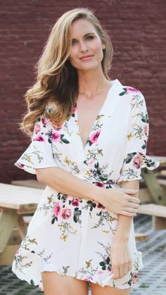 summer outfits  White Floral Shirt Dress